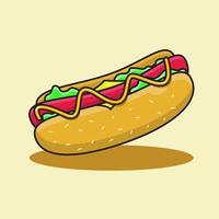 hotdog with cheese and mayonnaise sauce illustration vector