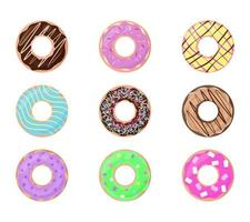 Donuts isolated on white background Set of doughnuts Vector illustration