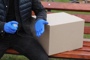 Delivery service courier during the coronavirus pandemic photo