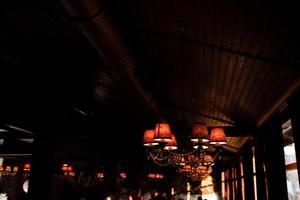 Chandeliers in the interior restaurant photo