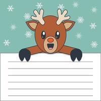 Rudolph kawaii sosteniendo un papel en blanco vector