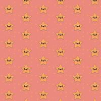 patrón lindo kawaii estrella sonriendo vector