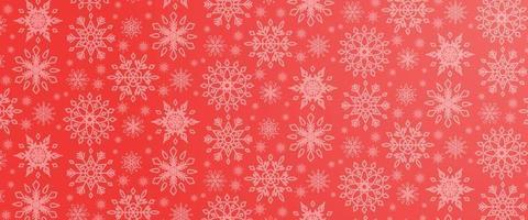 Ilustración navideña con varios copos de nieve sobre fondo degradado en colores rojos vector