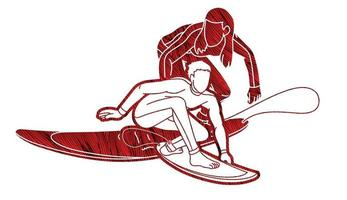Surfer Action Surfing Sport Graphic vector