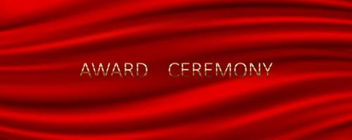 Award ceremony banner with red silk background vector