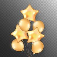 Flying bunch of golden balloons vector