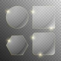 conjunto de pancartas de vidrio transparente vector