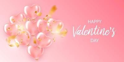 Festive banner with pink helium balloons vector