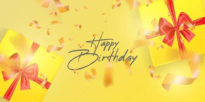 Happy Birthday card template with gifts vector