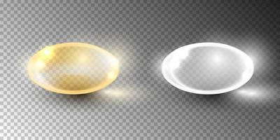 Cápsula de vitamina de burbuja de aceite aislada sobre fondo transparente vector