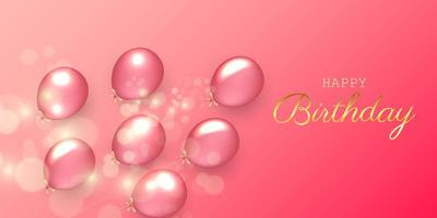 Birthday festive background with helium balloons vector