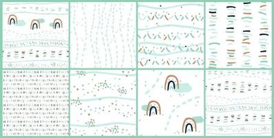 Set of eight sweet abstract seamless patterns of clouds rainbow lines dots vector