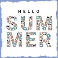 Hello summer vector banner with beach elements pattern and text typography Vector illustration