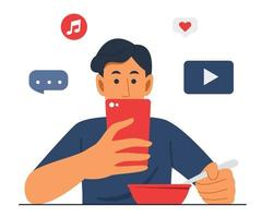 Man is Eating Food While Watching Mobile Phone vector