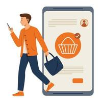Man is Online Shopping on Mobile Phone and Walking Out from Big Smartphone vector
