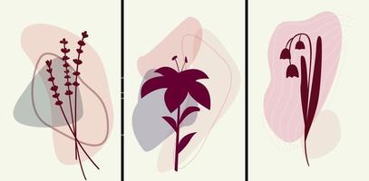 Vinous and pink colour botanical posters vector