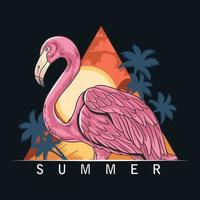 summer flamingos on the beach with coconut trees and the sea vector