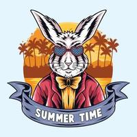 summer rabbits partying on the beach vector