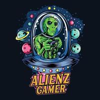 extraterrestre montando ovni como gamer e sport logo vector