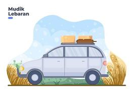 Person travels back to hometown village to celebrate Eid with family. Mudik or Pulang Kampung Indonesian tradition during eid al fitr. Mudik Lebaran translation back to village or hometown. vector