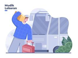 Mudik Lebaran concept translation back to village or hometown before Eid with bus. Eid Al Fitr travelling vector