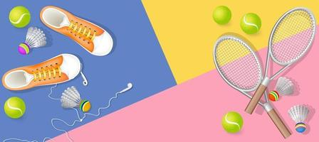 Vector background image with sports equipment for practicing bodyminton or tennis
