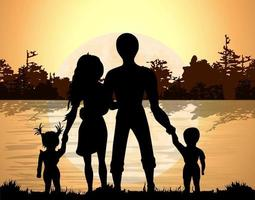 Vector background image of the lake against the background of the forest and the Silutes of a family of four holding hands and watching the natural phenomenon  sunset
