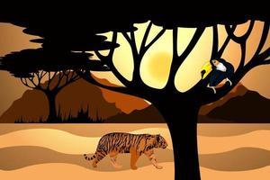 imagen vectorial de un sudario y un tigre errante en busca de comida vector