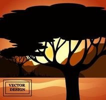 Vector background illustration  In the rays of the setting sex sun