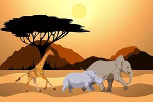 Imagen vectorial de una mortaja y animales corriendo a lo largo de ella viviendo en ella. vector