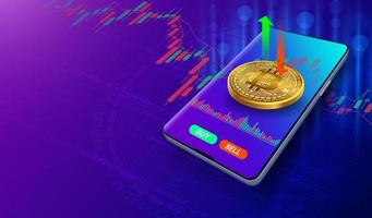 Bitcoin Trading Market for Cryptocurrencies vector