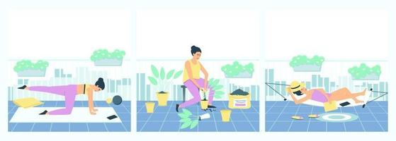 Set of female activities on the balcony vector