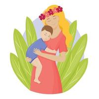 A mother holds her young son in her arms. Mom hugs a small child. The parent shows love and care Colorful cartoon characters Vector illustration