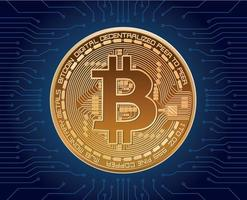 realistic vector bitcoin crypto currency illustration on blue background