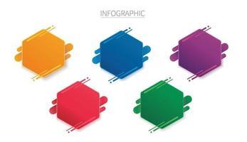 Plantilla de vector de infografía de hexágono colorido con 5 opciones