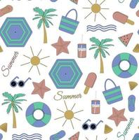 Colorful seamless summer pattern with beach elements such as sunglasses palm watermelon ice cream bag umbrella waves flip flops and shell Vector illustration