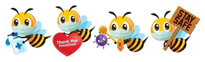 Cartoon cute bee wears surgical face mask, fight against coronavirus and thank you to frontliners vector