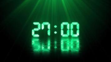 cronômetro digital de contagem regressiva com luz verde video