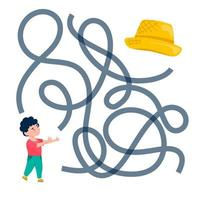 Cute cartoon boy character maze game. Labyrinth. Funny game for children education. Vector illustration