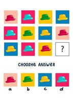 Logic game for kids, activity to children, task for the development of logical thinking and mind, cute cartoon hats vector