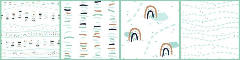 conjunto de simples patrones sin fisuras de color marrón azul verde de líneas abstractas puntos nubes arco iris sobre fondo blanco en estilo plano dibujado a mano vector