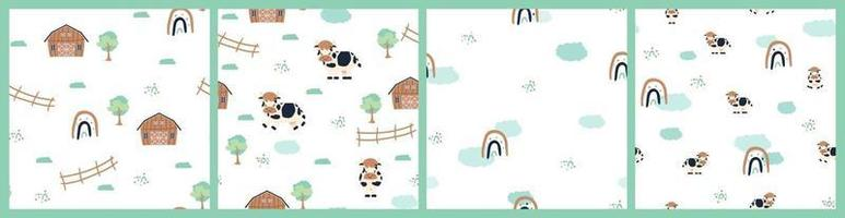 Set of cute farm cartoon seamless patterns on white background vector
