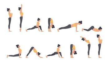 Ilustración de vector de conjunto de saludo al sol de yoga