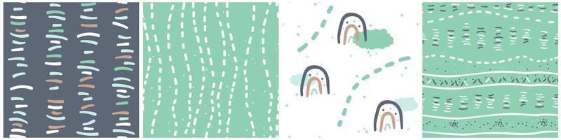 conjunto de patrones sin fisuras azul verde blanco marrón de nubes arco iris líneas puntos vector