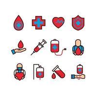 conjunto de iconos de donantes de sangre vector