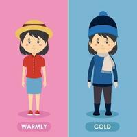 Characters Wearing Summer and Winter Outfits vector