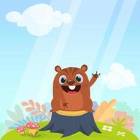 Happy cartoon groundhog vector illustration