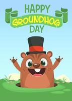 Happy cartoon groundhog on his day vector illustration