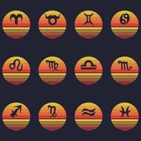 Zodiac Signs sunset retro vector illustration