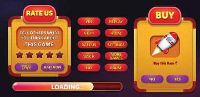 Level selection game menu scene with buttons  loading bar and stars Pro Vector